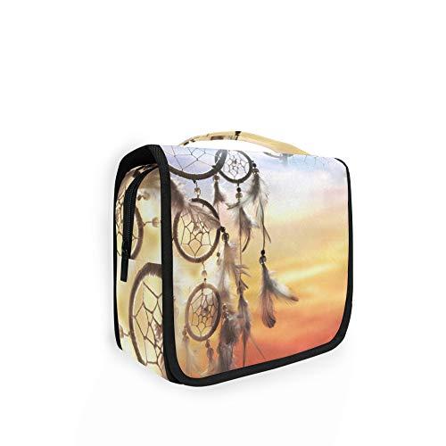 RELEESSS - Bolsa de aseo de viaje con atrapasueños étnicos, organizador de maquillaje, bolsa de lavado para colgar