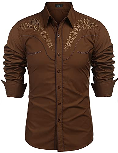 COOFANDY Men's Western Shirts Long Sleeve Slim Fit Embroideres Cowboy Casual Button Down Shirt (Medium, Coffee)