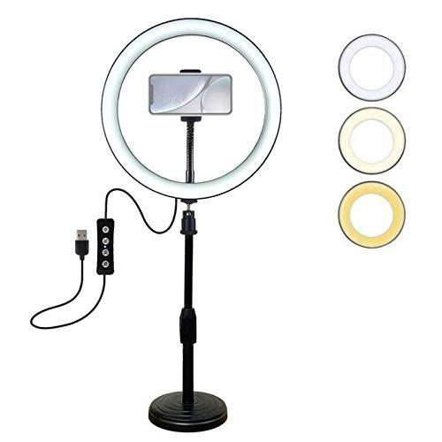 YUNYUE Aro De Luz con Tripode, 10.2' 10 Brillo Regulable Aro De Luz para Movil Selfie 360°, 3 Modos Luz Ring Light Focos Iluminacion Fotografia para Youtube Video Maquillaje Tiktok