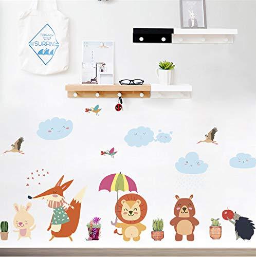 KTTO Animaux de la forêt Fox Lion Ours Oiseau Parapluie Arbre Stickers Muraux pour Enfants Chambres Home Decor Animaux de Bande Dessinée Autocollants Art DIY Affiche