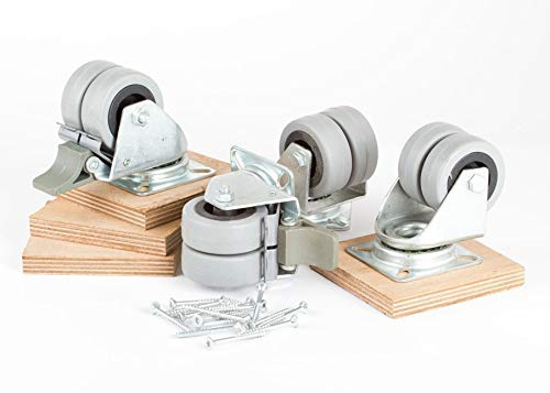 SAUERLAND 4 Strandkorb-Transportrollen inkl. Schrauben und imprägnierten Aufschraubplatten aus Schichtholz