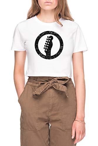 Telecaster Kop, Wit Dames Bijsnijden T-shirt Tee Wit Women's Crop T-shirt Tee White