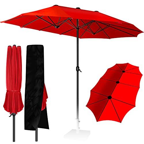 KESSER® Sonnenschirm Doppelsonnenschirm + Abdeckung | Gartenschirm | Marktschirm | Terrassenschirm mit Handkurbel | Oval | Aluminium | UV-beständig | wasserabweisenden | Rot