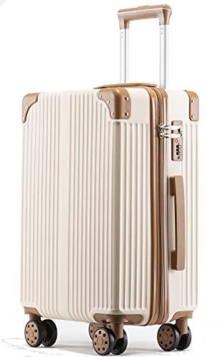 Langxj hj 機内持込キャリーバッグ キャリーケース スーツケース 化粧ケース ミニトランク ビジネスキャリーバッグ TSAダイヤル式ロック搭載 機内持込 ((本体のみ、miniケースなし)ベージュー, S)