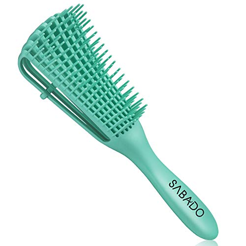 Detangling Brush for Black Natural Hair - Detangler Brush for Curly Hair, Afro Textured 3a to 4c Kinky Wavy for Wet/Dry/Long Thick Curly Hair (Green)