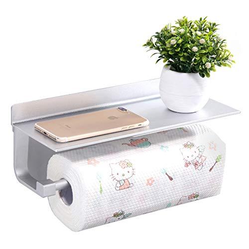 Küchenrollenhalter, Queta Papierhandtuchhalter mit Shelf Nail Free selbstklebend Space Aluminium, Selbstklebender, für Badezimmer und Küche