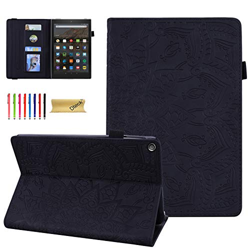 Dteck Case for All-New Fire HD 10 (9th/7th Generation, 2019/2017 Release) - Slim Premium Embossed Leather Folio Stand Protective Cover with Card Holders for Amazon Fire HD 10.1