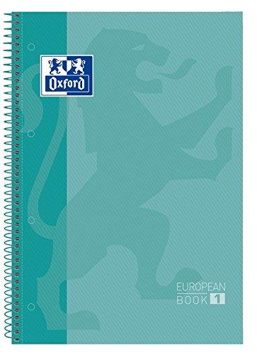 Oxford, Cuaderno A4, cuadricula 5x5, tapa extradura, microperforado, libreta A4 Europeanbook 1, color ice mint