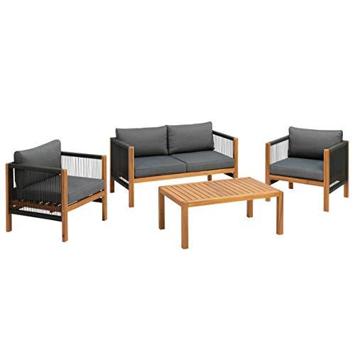 greemotion Lounge-Set Abaco, Gartenmöbel-Set mit Kissen, Akazienholz FSC 100 %