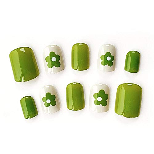 CLOAAE 24 pieces/box of cute student wearable full-cover nail nails small avocado flower green finished fake nails