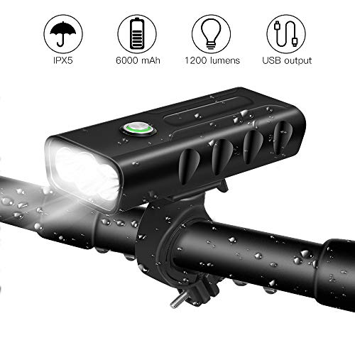 BICYGO USB Rechargeable Bike Light Front, 3 LED 1200 Lumen, 6000 mAh Bicycle Light, Flashlight with 3 Mo++++des, IPX5 Waterproof, Cycling Safety Bicycle Headlight