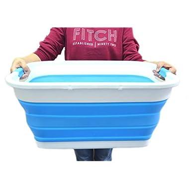 SAMMART Collapsible Plastic Laundry Basket - Foldable Pop Up Storage Container/Organizer - Portable Washing Tub - Space Saving Hamper/Basket (2 Handled, Sky Blue)