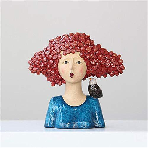 ZTIANEF Estatuas Figuritas Decoración Colorido Personaje Estatua Gato Y Pájaro Apoyándose En Alice Estatua Decoración del Hotel Decoración del Hogar Accesorios