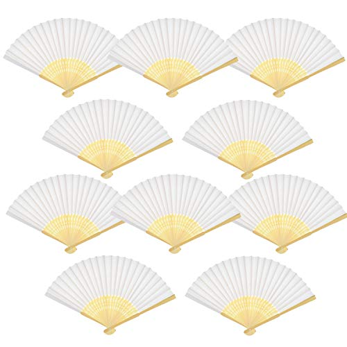 20 Pack Handmade Paper Folding Fans Bamboo Hand Held Fan for Gift Party Favors Home Office DIY Decor