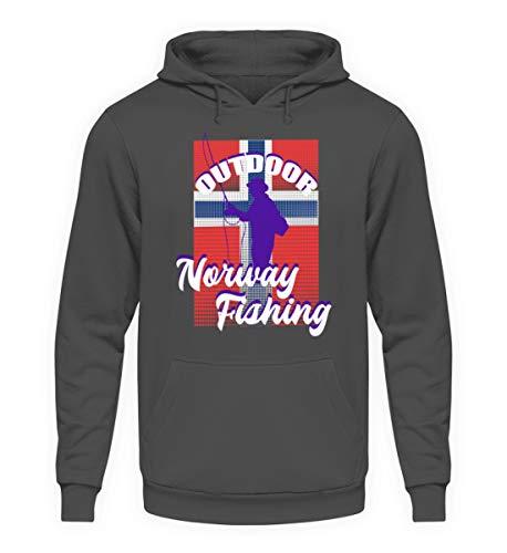 Norwegen Angler T-Shirt Angeln Fischer Fischen Angelsport Geschenk - Unisex Kapuzenpullover Hoodie -M-Stahlgrau
