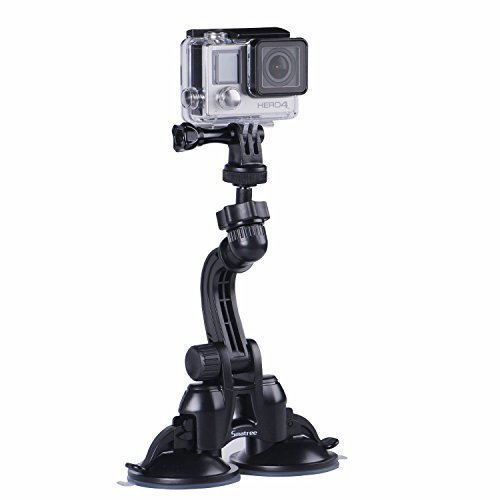 Smatree Doppia Ventosa con Maggiore Potenza d'aspirazione per GoPro Hero 8/7/6/5/4/3 +/3/2/1/Hero Session/DJI OSMO Action,per fotocamere Compatte
