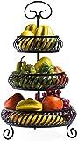 Manyao Snack-Dip tazón Cuencos Vajilla de múltiples Capas de Metal Cesta de Frutas, de Tres Capas del Estante de Almacenamiento Negro Ronda, Cocina, baño Estante Multiusos de Frutas y legumbres secas