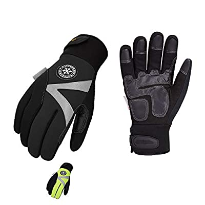 Vgo 2-Pairs -4? or above 3M Thinsulate C100 Lined High Dexterity Touchscreen Synthetic Leather Winter Warm Work Gloves, Waterproof Insert (Size XS, Black, Fluorescent Green, SL8777FW)
