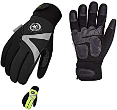 Vgo 2-Pairs -4? or above 3M Thinsulate C100 Lined High Dexterity Touchscreen Synthetic Leather Winter Warm Work Gloves, Waterproof Insert (Size M, Black, Fluorescent Green, SL8777FW)