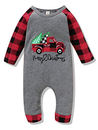 Christmas Outfits Newborn Baby Boys Girls Jumpsuit My First Christmas Long Sleeve Plaid Car Romper One Piece Fall Clothes Set Unisex (Car Plaid Jumpsuit, 0-6 Months)