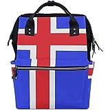 Mochila Para Pañales Con Estampado De La Bandera De Islandia Para Mamá/Papá,Mochila De Viaje Multifunción Abierta De Ancho Bolsas Para Pañales