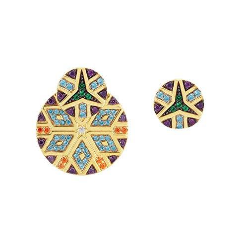 JIAJBG Pendientes Hechos a Mano Geometría Vintage Redondo Multicolor Cz Pendientes de Gota de Cristal para Mujer Asimetría Étnica Pendientes Grandes Joyas 21209-2 Moda / 21209/1