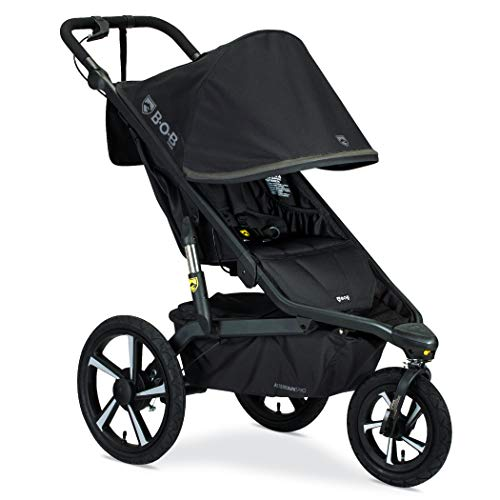 BOB Gear Alterrain Pro Jogging Stroller - One-Hand Fold - Smoothshox + Airfilled Tires - Up to 75lb Child, Black