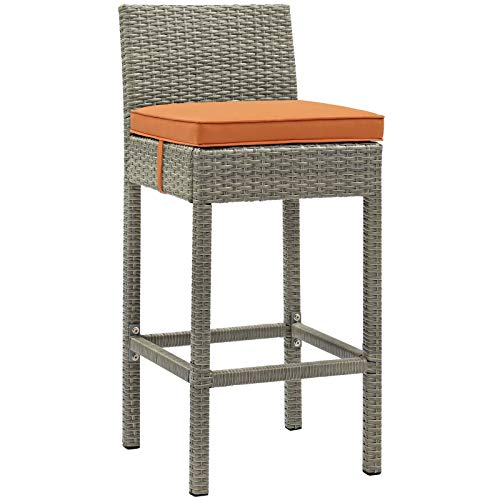 Modway Conduit Wicker Rattan Outdoor Patio Bar Stool with Cushion in Light Gray Orange