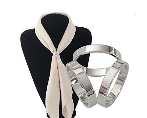 1 broche para bufanda y bufanda para mujeres y niñas, con hebilla, moderno, sencillo, triple deslizamiento, para joyería, broche de seda, para ropa, anillos, joyería, etc. 2 cm plateado