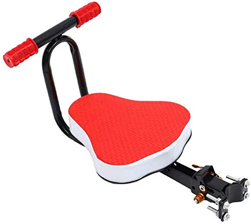 ZQTHL Child Seats,Child Bike Seat Front,Foldable & Ultralight Front Mount Baby Kids' Bicycle Carrier with Handrail for Mountain Bikes, Hybrid Bikes,Red