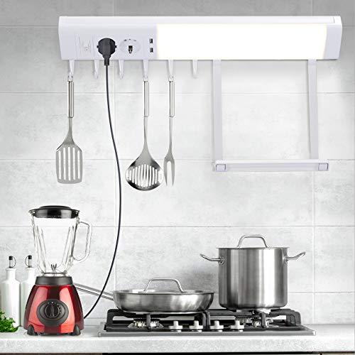 LED Unterbauleuchte, WOOHSE Schrankbeleuchtung mit 2 Steckdosen 2 USB Ausgänge 6 Haken 1 Regal 10W Werkstattleucht Schrankleuchten IP20 850LM 4000K LED-Lichtleiste für Schrank Küche Werkzeugräume