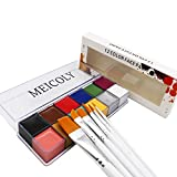 MEICOLY 12 Colors Face Body Paint Oil Painting Art Halloween Party Fancy Beauty Makeup Brushes Eye shadow Kit with Brushes