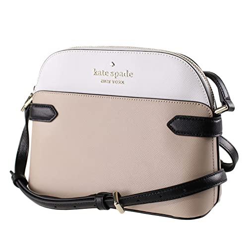 Kate Spade Staci Colorblock Dome Saffiano Leather Crossbody Bag Purse Handbag, WARM BEIGE MULTI