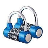 Surplex 2 Pcs Cerradura de la Combinación de Seguridad Candado de 5 Dígitos, Juego de Candado Impermeable Antirruido Reajustable, para Gimnasio al Aire Libre Oficina de la Escuela Casa Maleta (Azul)