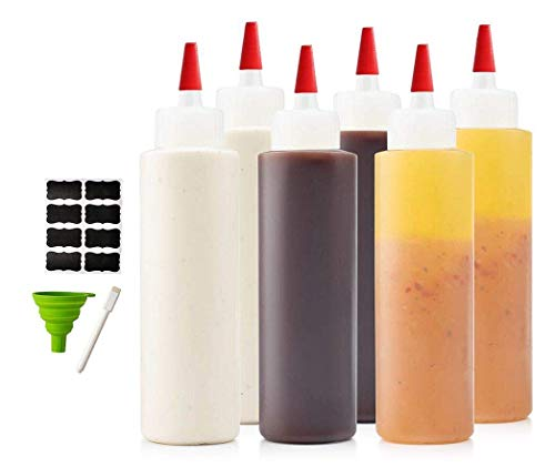 6-pack Premium Condiment Squeeze Bottles for Sauces, Paint ,Oil, Condiments ,Salad Dressings, Arts and Crafts - BPA Free- Food Grade-Includes Funnel, Erasable Marker and Reusable Labels (16 oz)