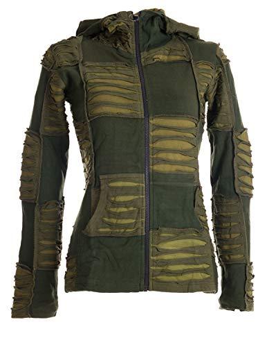 Vishes - Alternative Bekleidung - Damen Patchwork Jacke mit Cutwork und Zipfelkapuze Olive 36