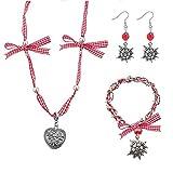 papasgix Oktoberfest rote Schleife Ohrringe Armband 1 Set (Selbstgemacht) Armband Schlüsselbund und...