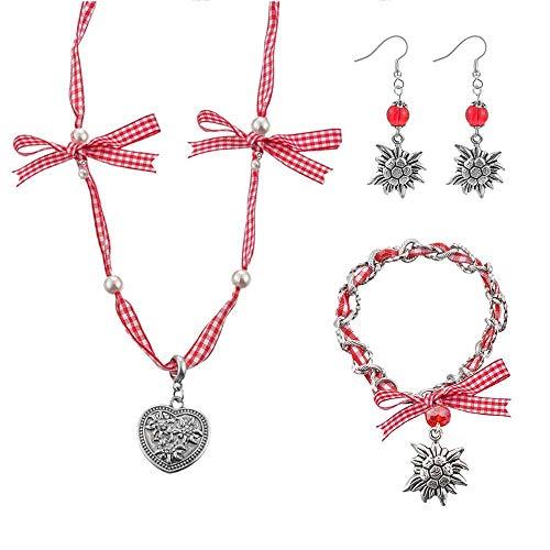 MJARTORIA 3er Damen Oktoberfest Schmuck Set Rot Armband Halskette Ohrringe mit Edelweiß Herz Anhänger Charms Trachtenschmuck Dirndl Accessoires (Rot)