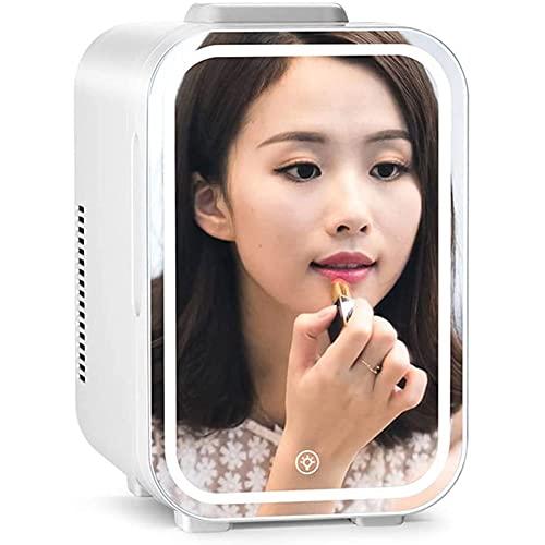 Mini Refrigerador Cosmeticos 10L AC/DC Refrigerador Y Calentador Portátil Compacto De Belleza con LED Espejo De Maquillaje para El Cuidado De La Piel, Alimentos, Medicamentos, Hogar Y Viajes