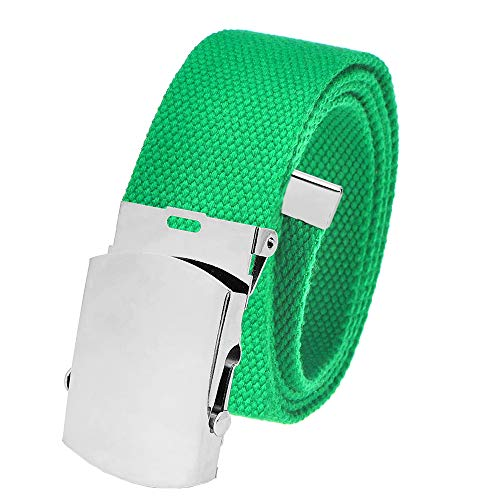 All Sizes Men's Golf Belt in 1.5 Silver Slider Belt Buckle with Adjustable Canvas Web Belt Large Kelly Green