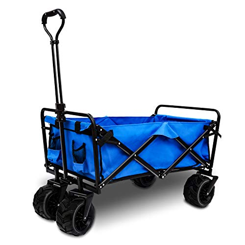 AUTENPOO Heavy Duty Utility Wagon Outdoor Collapsible Folding Garden Carts with Adjustable Push and Pull Handle Portable Wagon Cart with Veer Wheel for Yard Beach Camping and Shopping