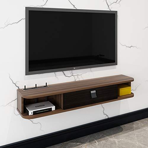Wall Mounted Media Chest Kabinet van TV Media Console Living Room Locker opslag Shelf Drijvende Planken TV Console TV standaard zet met Player Router (Color : Wooden color, Size : 120cm(47.2in))