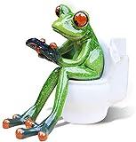 Lustige Froschfigur Kreative Frosch Dekofiguren Tier Figur Skulptur Zierfigur für Büro Haus Dekoration (Frosch auf Toilette)