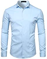 WHATLEES Men's Hipster Solid Slim Fit Long Sleeve Tuxedo Dress Shirts T27 Sky Blue Large