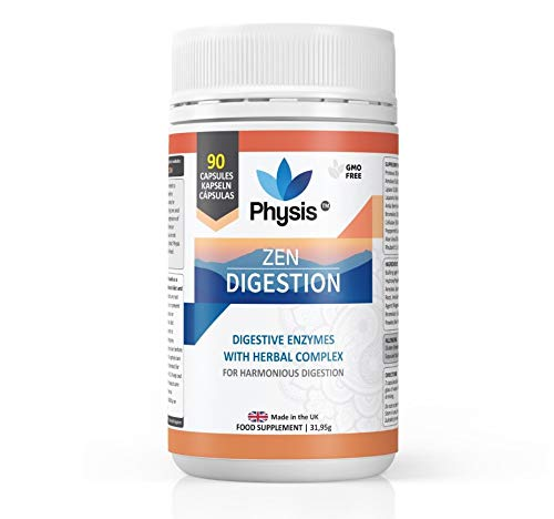 Physis Zen Digestive Enzymes with Soothing Herbal Complex | 90 Capsules | Digestion Supplement to Optimise Digestive Function & Nutrient Absorption | Easy Digest Supplement | 100% Natural & Vegan