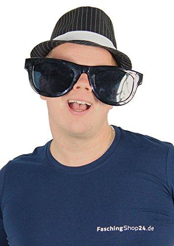 Foxxeo Die Schwarze Mega Partybrille für Erwachsene in Größe XXL Sonnenbrille schwarz Jumbobrille Partybrille Spassbrille Fasching Schwarze Party Brille Clown