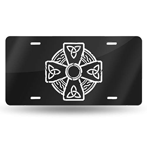 QAAIFSQC Celtic Cross Knot Irish License Plate Metal Aluminum Vanity Auto Car Tag for Decoration 6x12 Inchs