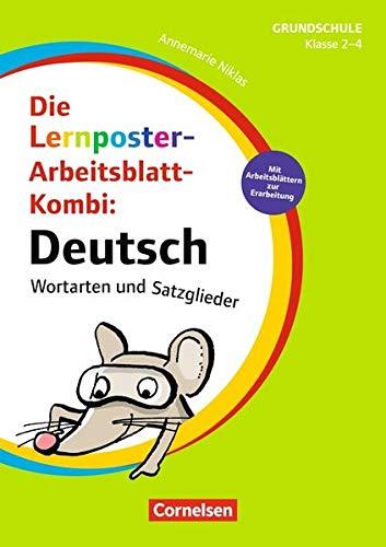 Lernposter für die Grundschule: Klasse 2-4 - Deutsch - Wortarten und Satzglieder: Die Lernposter-Arbeitsblatt-Kombi. 4 Poster