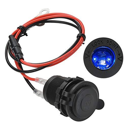 Presa Accendisigari Auto,JTENG Presa Accendisigari 12V / 24V DC con Indicatore LED Blu, Adattatore Universale per Accendisigari, con Fusibile e Cavo d