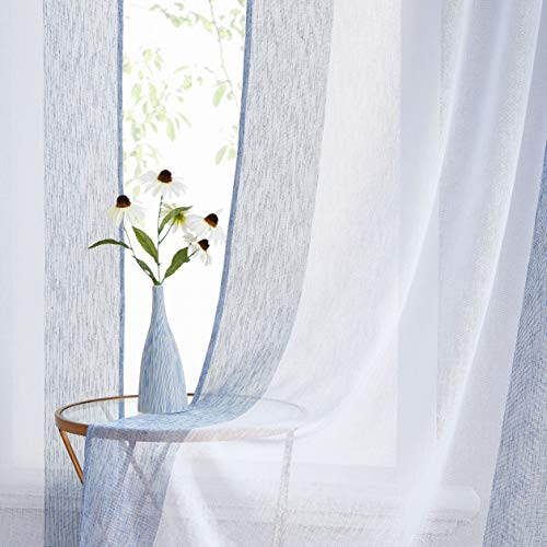 WEST Lake Blue White Sheer Linen Curtain Color Block Window Treatment for Bedroom, Balcony, Living Room, Rod Pocket Design, 40 x 84 inch, 2 Panels, Blue and White